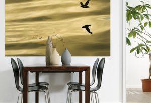 Ambiente decorado com Painel Fotográfico Passáros sobre o mar - 1-604