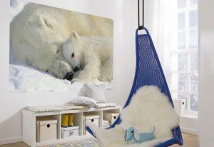 Ambiente decorado com painel fotográfico com imagem de urso porlar - 1-605
