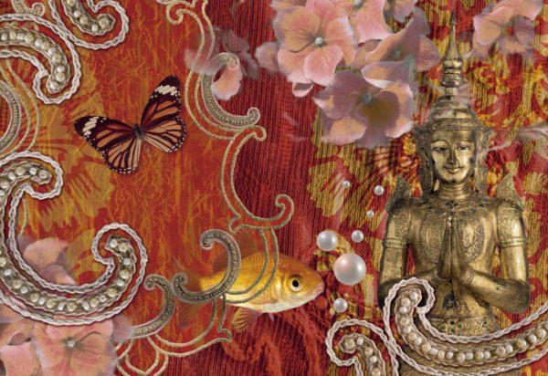 Painel Fotográfico Borbolestas e Buddha - 8-890