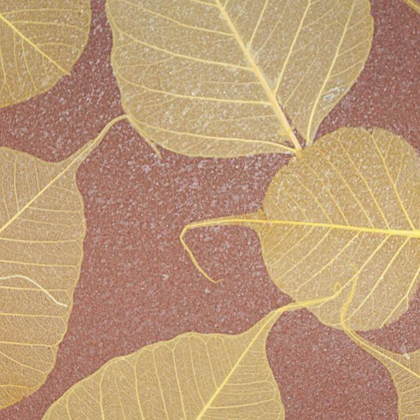 Palha Natural com folha seca e fundo vermelho - V6879