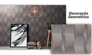 Papel de Parede com estilo geométrico marrom metalizado