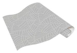 rolo de papel de parede com folhagem abstrato, na cor cinza- Ref: 5427-10